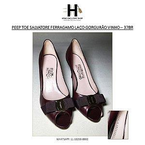 PEEP TOE SALVARORE FERRAGAMO VINHO - 37BR