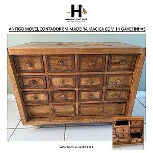 ANTIGO MÓVEL CONTADOR EM MADEIRA MACIÇA COM 14 GAVETINHAS