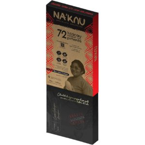Chocolate Na'kau 72% Cacau Com Pimenta Baniwa - 80g.