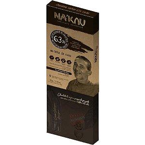 Chocolate Na'kau 63% Cacau Ao Leite De Coco - 80g