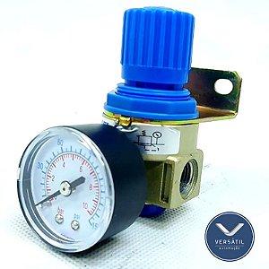 """Regulador De Pressão Pneumático Com Manômetro e Suporte R.1/4"""""""