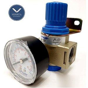 """Regulador De Pressão Pneumático Com Manômetro e Suporte R.1/2"""""""