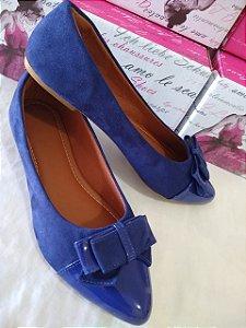 Sapatilhas Modamor  em Camurça Bico Fino Brilhante Cor Azul super confortável um espetáculo para você.