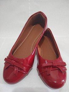 Sapatilha Modamor Vermelha verniz Bico Redondo super Confortável.