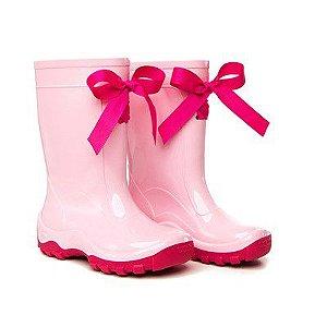 Galocha Infantil Rosa Claro com Fita Pink - Kidsplash