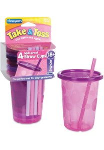 4 Copos Com Canudo Rosa 296ml - Take & Toss