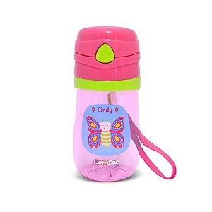 Copo Plástico com Canudo Let's Go Borboleta - Comtac Kids