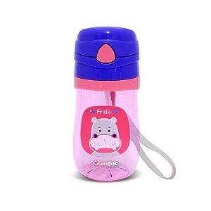 Copo Plástico com Canudo Let's Go Hipopótamo - Comtac Kids
