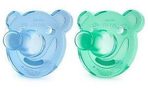 Chupeta ursinho Soothie Avent 0-3 meses azul e verde - com 2 unidades