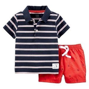Conjunto 2 peças gola polo azul marinho listras brancas Just one You made by CARTERS