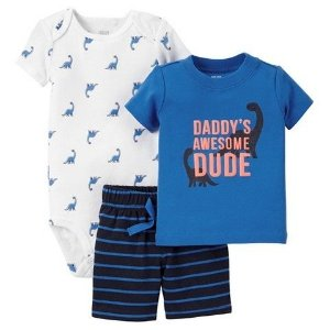 Conjunto 3 peças azul Dinossauro Just one You made by CARTERS