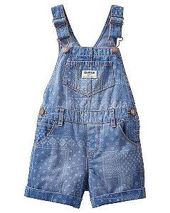 Jardineira estampada jeans molinho - OSHKOSH