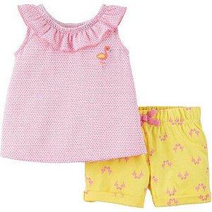 Conjunto 2 peças rosa e amarelo Flamingo Child of Mine made by CARTERS