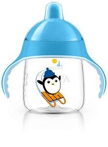 Copo treinamento 260ml azul bico rígido Pinguim 12+ - AVENT