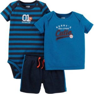 Conjunto 3 peças azul CUTIE Child of Mine made by CARTERS