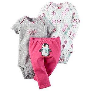Conjunto 3 peças cinza e pink Pinguim - CARTERS