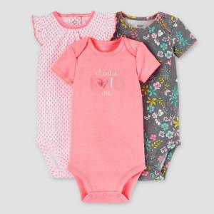 Kit body 3 peças rosa e cinza floral Just one You made by CARTERS