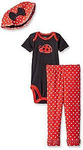 Conjunto 3 peças vermelho e preto Joaninha - GERBER