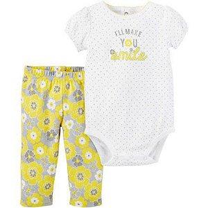 Conjunto 2 peças amarelo e cinza floral Child of Mine made by CARTERS