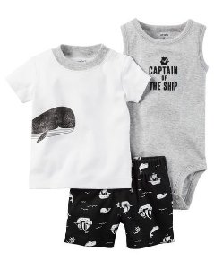 Conjunto 3 peças preto e branco Baleia - CARTERS