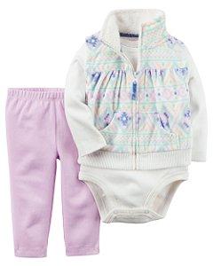 Conjunto 3 peças colete em fleece estampado e calça legging lilás - CARTERS