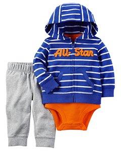 Conjunto 3 peças azul e laranja ALL STAR - CARTERS