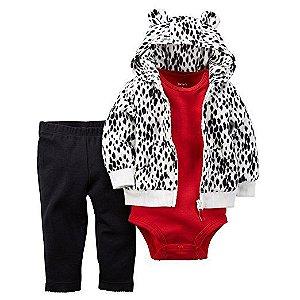 Conjunto 3 peças casaco em fleece com body vermelho e calça legging preta - CARTERS