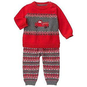 Conjunto 2 peças em tricô cinza e vermelho Carrinhos - GYMBOREE