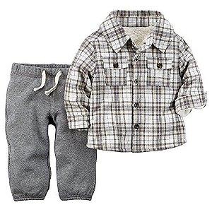 Conjunto 2 peças com camisa xadrez em flanela forrada e calça cinza - CARTERS