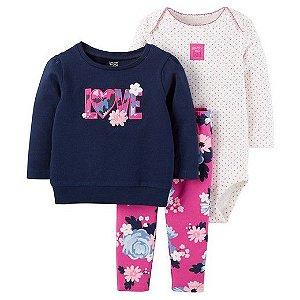 Conjunto 3 peças azul marinho e pink florido Just one You made by CARTERS