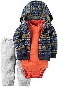 Conjunto 3 peças com body laranja e casaco e calça em fleece - CARTERS