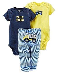 Conjunto 3 peças amarelo e azul Caminhão - CARTERS