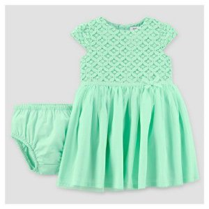 Vestido festa verde com renda e tule Just one You made by CARTERS
