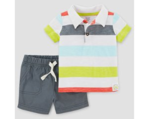 Conjunto 2 peças camiseta polo listrada e short cinza Just one You made by CARTERS