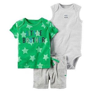 Conjunto 3 peças verde e cinza Little Brother - CARTERS