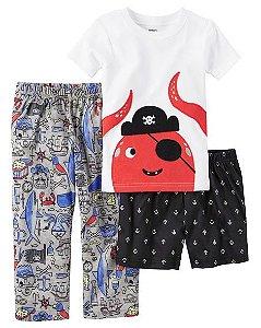 Conjunto pijama 3 peças Polvo Pirata - CARTERS