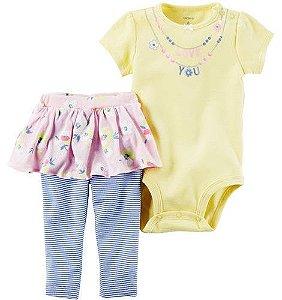 Conjunto 2 peças body amarelo com legging saia azul e rosa floral - CARTERS
