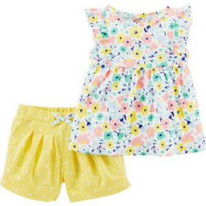 Conjunto 2 peças bata floral com short amarelo Child of Mine made by CARTERS