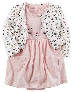 Vestido em malha rosa mesclado Gatinha com bolerinho estampado - CARTERS