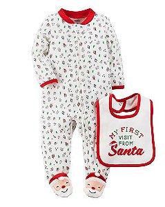 Macacão em malha com babador branco e vermelho Papai Noel - CARTERS
