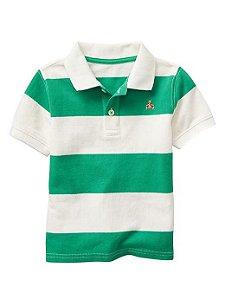 Camiseta gola polo listrada verde e branco - GAP