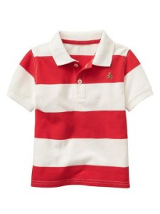 Camiseta gola polo listrada vermelho e branco - GAP