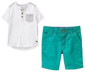 Conjunto 2 peças camiseta branca e cinza com botões e bermuda verde - CRAZY8