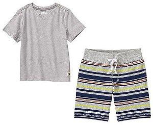 Conjunto 2 peças camiseta gola V com bermuda listrada - CRAZY8