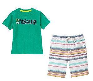 Conjunto 2 peças camiseta verde com bermuda listras coloridas - GYMBOREE