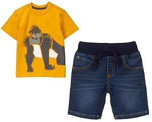 Conjunto 2 peças camiseta Gorila com bermuda jeans - GYMBOREE