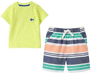 Conjunto 2 peças camiseta verde limão com bermuda listrada - GYMBOREE