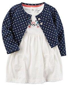 Vestido branco bordado florido com bolerinho azul marinho - CARTERS