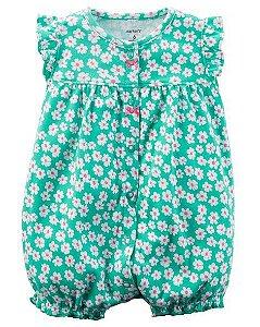 Romper em malha verde florido - CARTERS