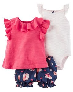 Conjunto 3 peças pink com short azul marinho florido - CARTERS